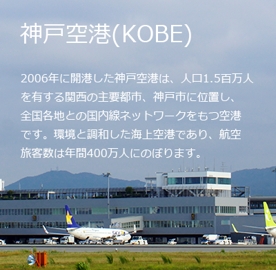 An offshore airport in a major Kansai city with 1.5 million inhabitants, Kobe Airport has been running in harmony with the surrounding environment since 2006. The airport serves 4 million passengers every year at a domestic level across the country.